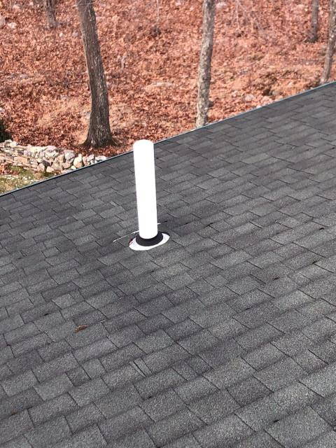 Oakdale, CT - Giving this roof in Montville CT a roof tune up! Inspecting this roof for possible issues. Installing new pipe flashing and sealing any exposed nails.