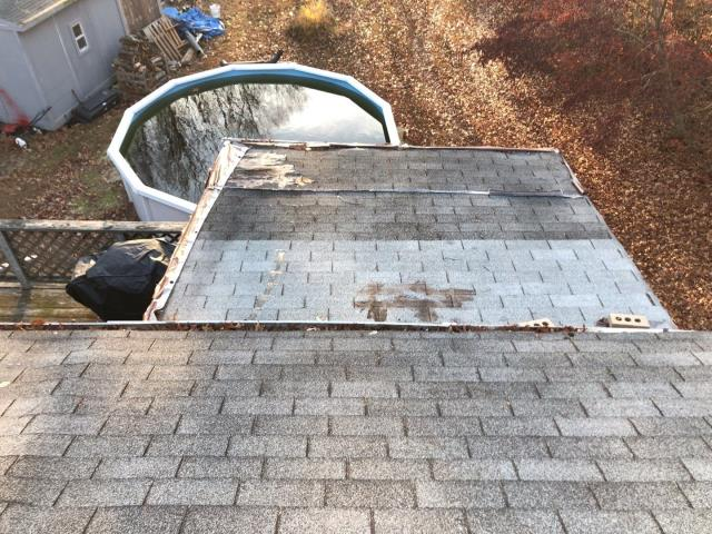 North Kingstown, RI - Doing a roof inspection on a property in North Kingstown RI. This porch roof needs all new plywood sheathing and some structural framing before the new roof is installed. Full roof replacement with any needed carpentry will be completed. New GAF Timberline HDZ roof shingles  will be installed