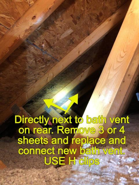 Hopkinton, RI - In a attic checking for proper ventilation and making sure the sheathing is in good shape. This bath vent needs to be vented thru the roof. When the roof replacement is done we will vent bathroom fan out roof. New GAF roof system using Gaf timberline HDZ shingles will be installed.