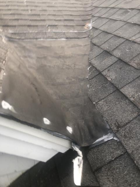 Voluntown, CT - This area is a trouble spot and needs to be replaced. Other contractors have tried to repair it but it is still a problem and needs to have a full roof replacement in this area. Ice damming has been a issue here. New metal roofing is a great option in this area