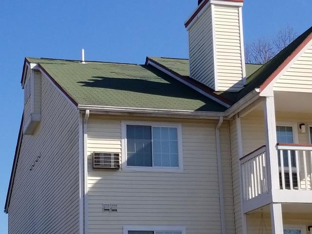 Jupiter Point, CT - These condominium roofs have storm damage in Groton CT. These roofs have missing shingles from the high winds. Storm damage is covered by insurance. We will make needed roof repairs and work with associations insurance company on getting these roofs replaced. Full roof replacement.