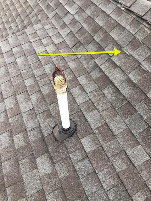 North Stonington, CT - During a roof inspection in North Stonington Ct we noticed some shingles that were not nailed properly. These shingles are sliding down the roof. All flashings were checked and roof leak was repaired
