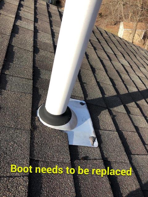 North Stonington, CT - During a Roof inspection we noticed this pipe flashing is worn out and needs to be replaced. One of our roof technicians will replace with a new ultimate pipe boot flashing.