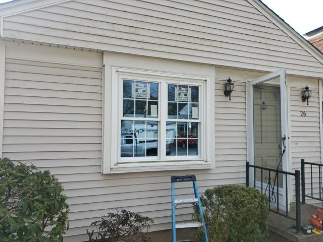 Johnston, RI - This replacement window job is complete! New Harvey replacement windows installed and exterior trim wrapped with new aluminum.
