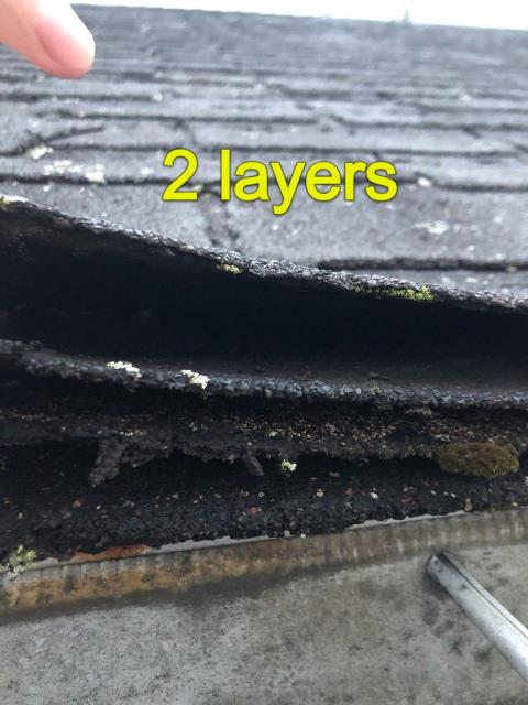 Preston, CT - Two layers of old roof shingles will be removed before installing a new GAF Roof system on this house in Preston CT,