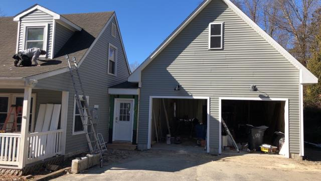 Preston, CT - This  vinyl siding project in Preston Ct is nearing completion. All new Aluminum trim being completed now.Removed old vinyl and installed new double four vinyl siding.