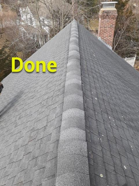 Waterford, CT - Replaced ridge cap shingles that had blown off during storm. To prevent blow offs we hand sealed the new cap shingles as well as nailed them.