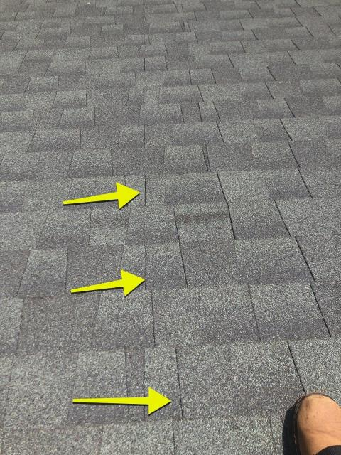 New London, CT - On a roof in New London Ct doing a roof inspection. The existing shingles were not installed according to manufacture specs. This leaking roof needs to be replaced. Roof is only 15 years old. Full roof replacement to be able to correct the bad installation is now needed. Following the manufactures directions is very important. Cheapest price is not always the cheapest in the long run.