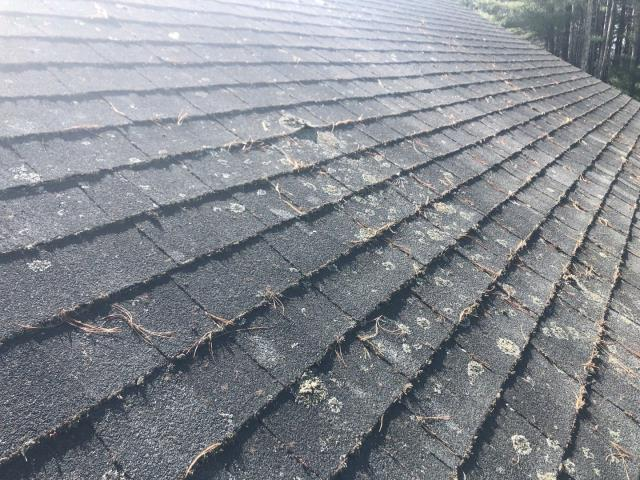 Richmond, RI - Roof inspection in Richmond RI. This roof has a large amount of moss on the roof shingles. Roof is being measured to give a free proposal to do a full roof replacement. All new GAF Roof system installed.