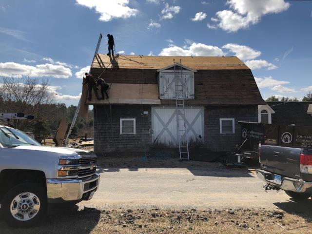 Richmond, RI - Crew is on site today Replacing a roof  in Richmond RI. All new plywood sheathing being installed before the new GAF Timberline shingles are installed. System Plus warranty