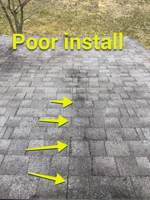 Stonington, CT - Pawcatuck ct roof inspection. These shingles were not installed properly. GAF has very clear specific directions on proper installation. We spend time weekly training our installers to keep up to GAF's standards.