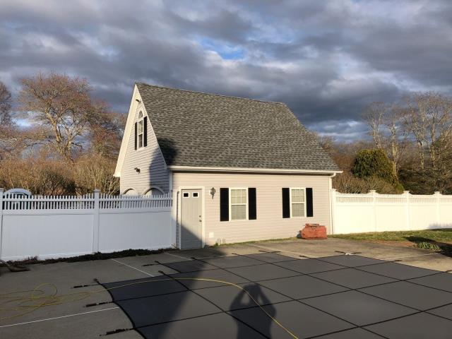 Stonington, CT - This detached garage , pool house roof was completed along with house and shed on this property In Pawcatuck CT. GAF Timberline HDZ shingles were used and has a golden Pledge Warranty ! New roof in One day! New roof no mess!