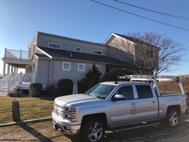 Narragansett, RI - This property in Narragansett RI will be getting a new GAF Roof replacement! Contract in place and on the schedule. Removing all the old roof shingles before new roof installation is a must! Great property to use the Equipter, New roof no mess!