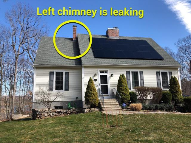 Ledyard, CT - Roof inspection in Ledyard ct. This roof is leaking around the chimney. New chimney flashing needs to be installed. The roof on this house is 15 years old and has a lot of life left to it. Will reflash bath pipes and chimney.