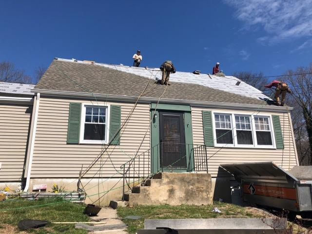 Groton, CT - Crew is moving along nicely on this roof replacement in Groton CT. New GAF Timberline shingles are looking sharp!