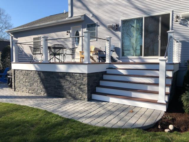 South Kingstown, RI - The crew will be spending extra time next week on this Full roof replacement project in SOUTH Kingstown RI protecting this new deck and walkway. Our project managers are on site for each of our roofing projects with protective materials to assure the property looks the same or better when we are done. Our project managers are GAF Trained to ensure every roof we do is up to GAF's strict standard! New roof no mess.