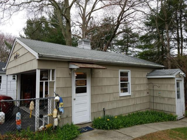 Groton, CT - Doing a roof inspection on this detached garage in Groton CT. We are practicing social distancing and using a virtual platform to share our proposal and go over what we find during our on site inspection.A new GAF timberline HDZ shingle is recommended for this garage