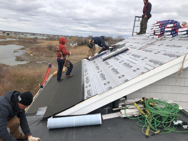 Narragansett, RI - Old roof shingles were removed on this roof in narragansett RI. Now installing the GAF accessories. The GAF Timberline HDZ shingles will be installed next. GAF Timberline HDZ shingles have a unlimited wind protection on the warranty.