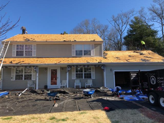 Westerly, RI - This roof replacement is moving along good in Westerly RI. Crew is inspecting the existing plywood sheathing for proper nailing and to make sure there is no rot! Next all the GAF Accessories will be installed!