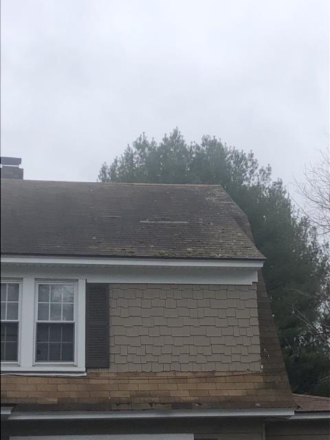 Norwich, CT - Roof inspection in Norwich CT. Roof is leaking Due to Missing shingles . Roof was patched to stop leaks. A full roof replacement is needed on this property. A new GAF Roof system is coming soon!