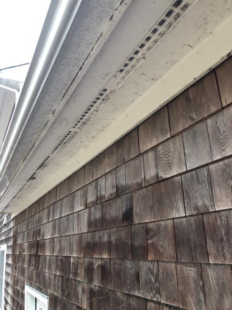 Norwich, CT - During every roof inspection we check to make sure there is good roof ventilation to make sure shingles are able to cool off during hotter months and prolong the life of the roof. Air comes in thru the soffit and vents out thru the ridge vent keeping underside of roof cooler. This roof is getting a new GAF Roof system installed.