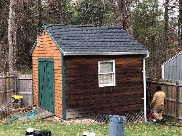 Hopkinton, RI - Crew was able to sneak in a small shed roof in Hopkinton RI before the rain.