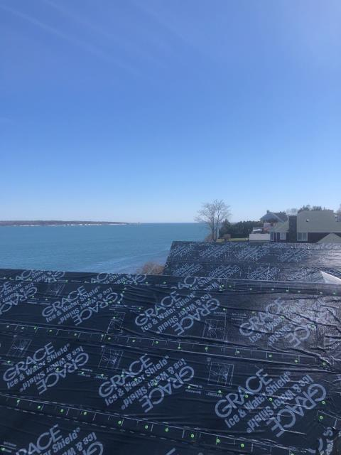 Narragansett, RI - Great view from this roof in Narragansett RI! Installed  full Grace Ice and water shield on this roof using the the stinger cap system to fasten. High winds will not be a factor as this roof is water tight while we wait for shingle delivery.