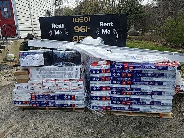 Griswold, CT - Material has been delivered to the site for todays roof replacement in Griswold CT. All GAF shingles and accessories being used