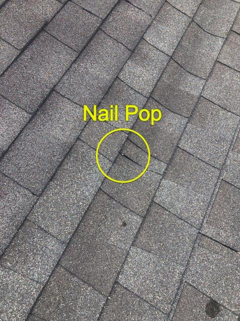 East Lyme, CT - Roof inspection in east lyme CT. This roof has multiple nail pops that are leaking. Homeowner went with cheapest price they got and now we are back repairing this roof for them. The contractor they hired will not return their phone calls. Cheapest is not  always the cheapest in the long run. Drywall and paint repairs are now needed inside.