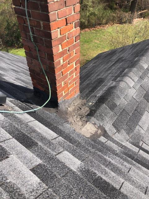 Hopkinton, RI - Looking to repair a leaking roof in Hopkinton RI, This roof has been patched and tar has been applied to try to stop the leak with out working. We were called to take a look and help this homeowner get rid of this headache.