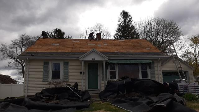 Stonington, CT - In Pawcatuck Roofing today! The old shingles have been removed and clean up is under way. The GAF ice & Water will be installed next!
