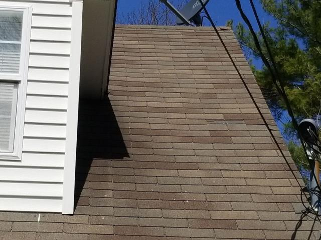 Ledyard, CT - Many times home owners haven't even noticed that they have missing shingles. We do a free roof inspection, many times we find storm damage. This roof has multiple ares with damage. A new GAF timberline shingle is recommended.