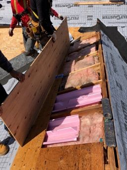Richmond, RI - Replaced some damaged plywood sheathing on this roof in Richmond RI. Roof ventilation is something we always inspect during our roof replacements. proper ridge vent and soffit vent helps the roof to last longer. This roof is getting all GAF accessories installed as part of the golden pledge roof warranty.