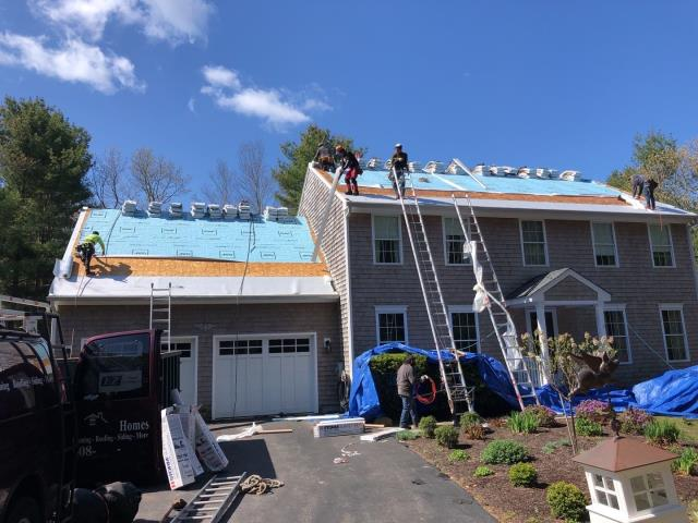 Charlestown, RI - Full roof replacement in progress! Installing all top of the line GAF Accessories as part of this Golden Pledge warranty!