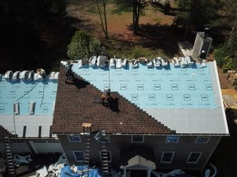Charlestown, RI - View of a current roof replacement in Charlestown RI from above. Using our drone for roof inspections and to capture GAF roof replacement pictures for our customers.