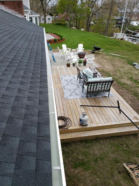 Narragansett, RI - Just completed installation of new stainless steel gutter guards in Narragansett RI. First the roof replacement was completed using GAF Timberline roof shingles. Color charcoal.