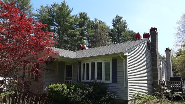 Voluntown, CT - Full roof replacement completed in Voluntown CT. GAF Timberline shingles installed. New Flashing installed around leaking chimney. Golden Pledge warranty