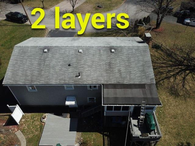 North Kingstown, RI - Drone picture of a upcoming roof replacement project in North Kingstown RI. Full roof replacement using GAF Timberline HDZ shingles