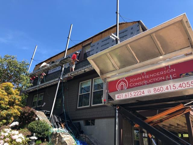 Westerly, RI - Crew is making Progress with this Roof replacement in westerly RI today. Using the Equipter to help protect and clean the property. Installing new GAF Timberline ULTRA HD roof shingles.