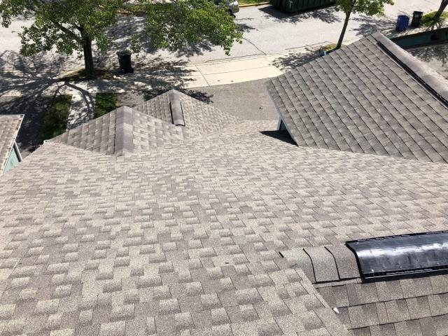Groton, CT - View from the roof. New GAF Timberline HDZ roof shingles installed at this condo complex in Groton CT,color weathered wood
