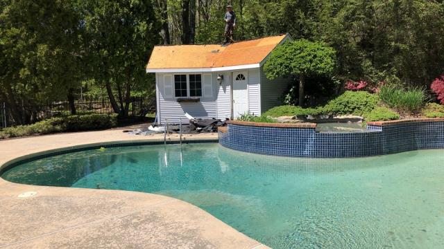 Warwick, RI - Even the pool hose roof is getting replaced on this property in East Greenwich RI!