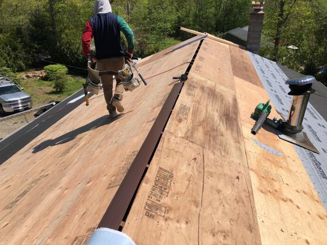 Hopkinton, RI - All new half inch sheathing was installed and now the GAF accessories are being installed. Before the GAF Timberline Shingles get installed.