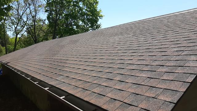Westerly, RI - New roof one day installed in Westerly RI on this 4 bay detached garage. GAF Timberline hdz shingles were used. High winds caused shingles to blow off. Insurance covered roof replacement