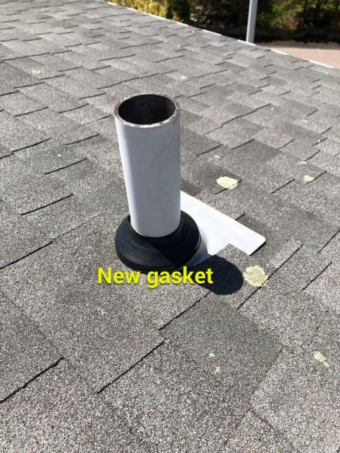 Montville, CT - Repaired this leaking  pipe flashing while on a roof in Montville Ct giving a price for a new roof. New GAF roof to replace the old leaking roof.
