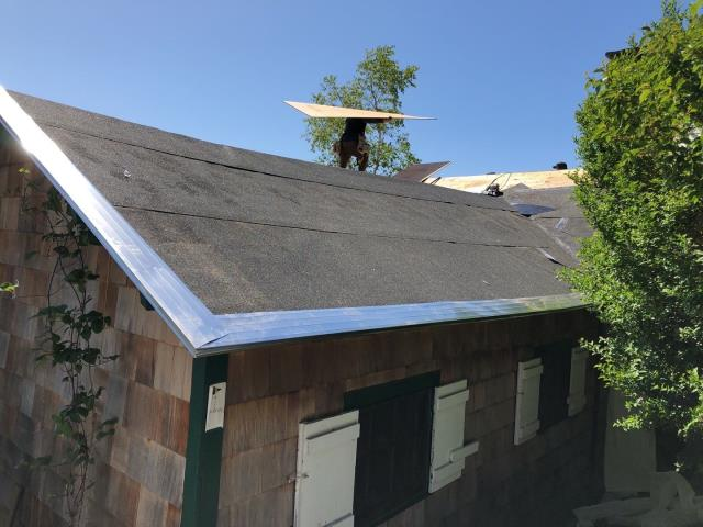 Stonington, CT - This waterfront cottage needed new sheathing installed fefore we installed the new GAF timberline HDZ roof shingles. Full ice & Water installed for maximum protection in this high wind zone.