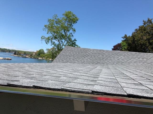 Stonington, CT - This roof replacement in Mystic Ct is complete. Installed a new GAF Timberline HDZ roof shingle. Ice & water shield installed on entire roof. High wind zone. Shingles were hurricane nailed per code.