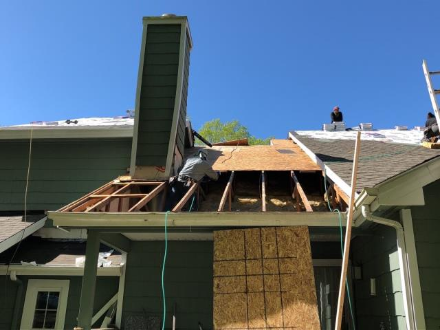 Groton, CT - Repairing  damaged framing and sheathing after removing 2 layers of old roofing shingles from this condo roof in Groton CT. New GAF Timberline shingles to be installed next.