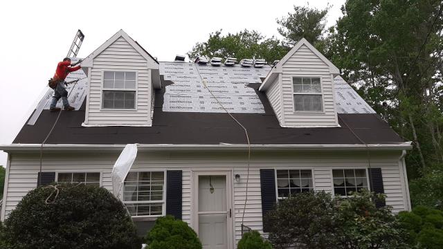 Griswold, CT - Old roof was removed and all new GAF Accessories have been installed. This roof replacement in Griswold CT will have new Pewter Grey GAF Timberline HDZ roof shingles.