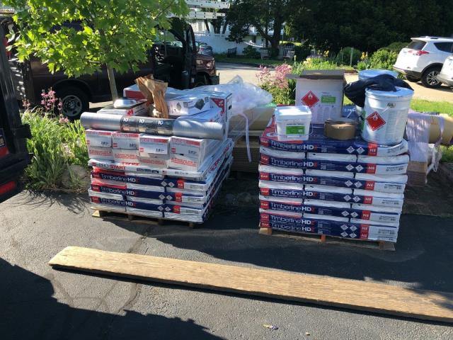 New London, CT - All the material is on site and ready to be installed today on a full roof replacement project in New  London CT. New GAF Timberline HDZ shingles and EPDM rubber roofing.