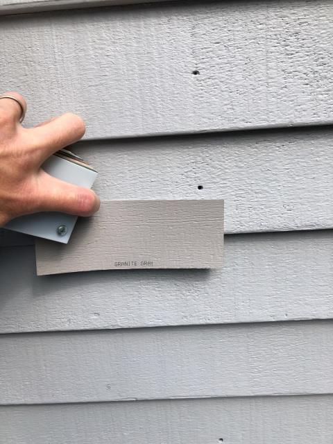 Westerly, RI - Working with a customer on matching the old wood siding color with the new Vinyl siding that we will be installing in Westerly RI.
